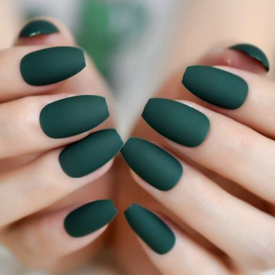 ballerina matte alpine green coffin press on 24 full