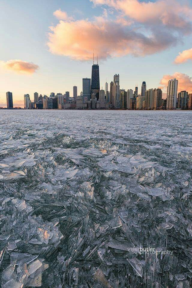 Chicago in the winter. Frozen Lake Michigan. What a beautiful shot today of Chicago in wintertime! Check out those crystals along the lake!   Photo credit: Barry Butler Photography