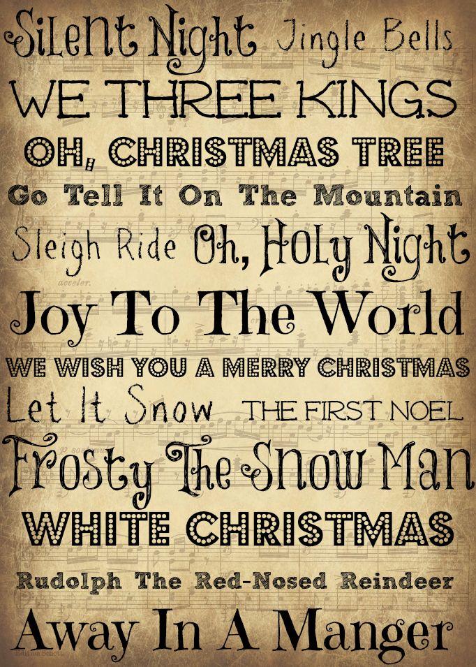 5x7 Christmas Printable Christmas Music Subway Art