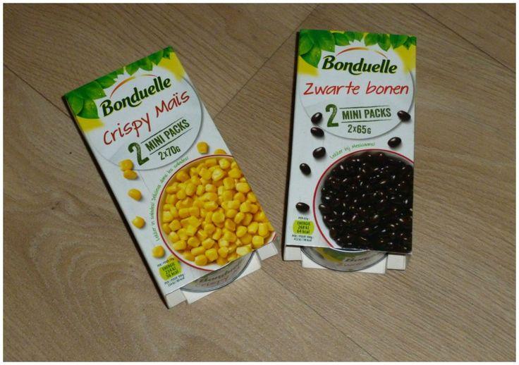 Bonduelle Mini-Packs Zwarte Bonen Crispy Maïs Kikkererwten Rode kidneybonen verrijking lunch gerecht recept recensie review