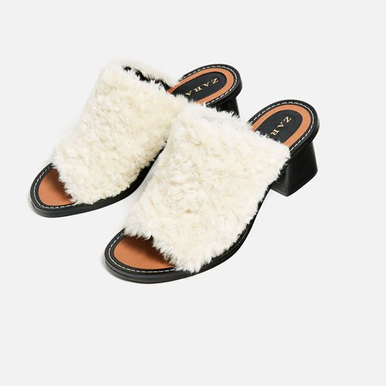 Image 5 of FAUX FUR BLOCK HEEL MULES from Zara
