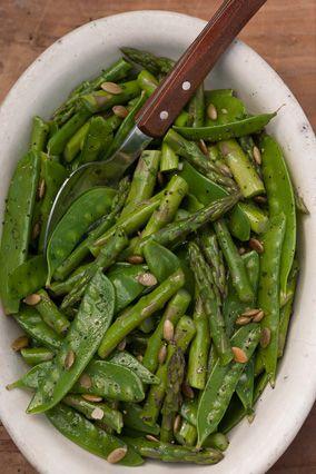 Asparagus and Snow Pea Salad with Lime Vinaigrette and Pepitas