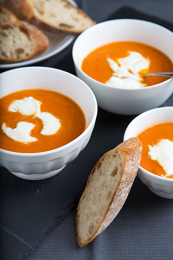 Oven-Roasted Tomato Soup with Mozzarella. Made with ripe tomatoes, white onion, garlic, vegetable broth, fresh thyme, bay leaf, mozzarella, salt, pepper, and olive oil.