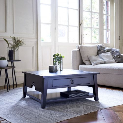 Mahogany coffee table - Black colour coffee tables sale - Tikamoon
