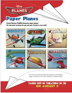 Free 14-page paper planes printable craft featuring characters from Disney Planes.