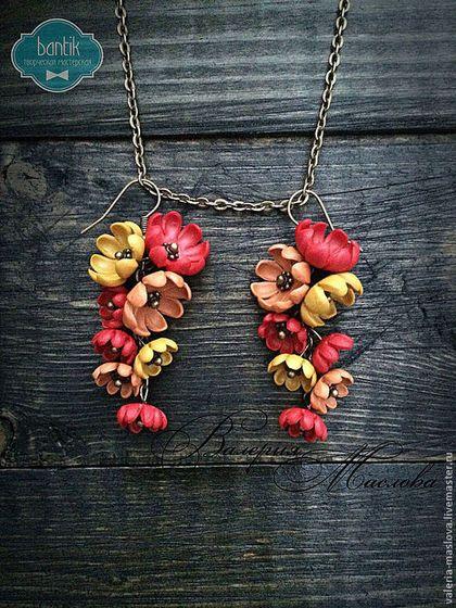 Серьги ручной работы. Ярмарка Мастеров - ручная работа Серьги с цветами из полимерной глины красные винтажные. Handmade.