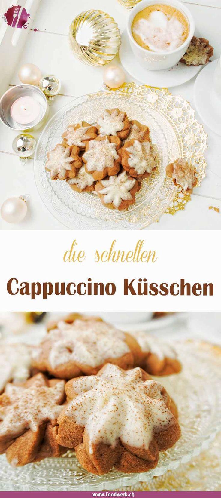 Die Kekse und Plätzchen für Weihnachten habt ihr schon gebacken? Ihr braucht noch eine weitere Sorte Guetzli? Mit unseren schnellen Cappuccino Küsschen habt ihr ruck zuck eine weitere, leckere Sorte gezaubert. Ohne grossen Aufwand und ganz schnell habt ihr ein weiteres Plätzchen gebacken, was auch noch schön aussieht. Auch zum Kaffee oder Tee ein beliebter Keks. Das Rezept ist bewusst einfach gehalten und ohne viel Zutaten.