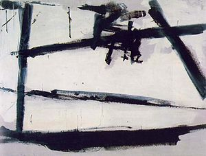 Painting Number 2, 1954, by Franz Kline, American 'action-painter', like Jackson Pollock, known for his spontaneous and intense canvas treatments with out ever touching a brush to the actual surface. This piece emphasizes Kline's study of Japanese calligraphy, though he denied this connection. Architecture is also noted as an influence... but the work is abstract, so you should read it for yourself and decide what it is or isn't.