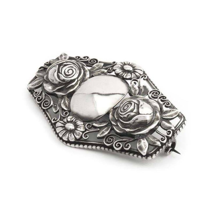 Aurora Patina Antieke zilveren broche met rozen