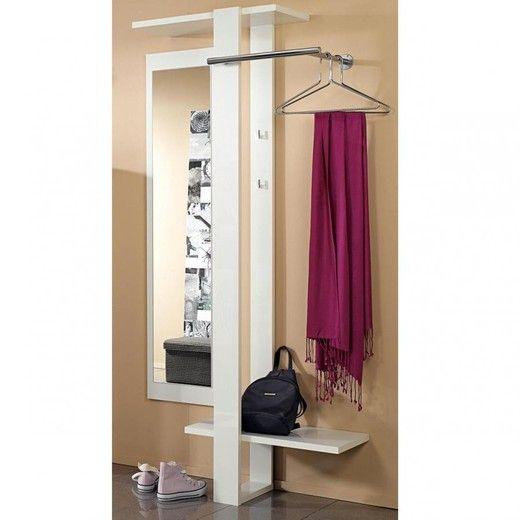 Space Garderobenpaneel mit Spiegel Weiß