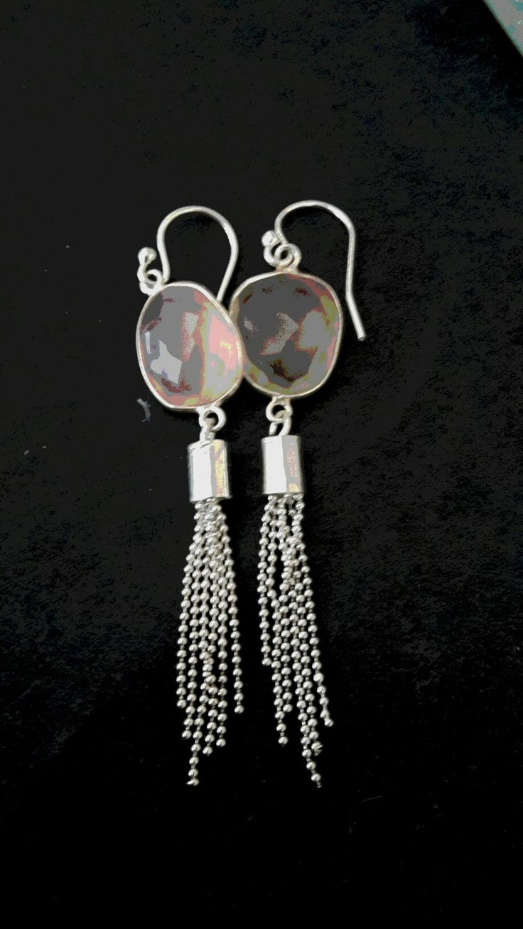 Rose quartz and sterling silver handmade earrings