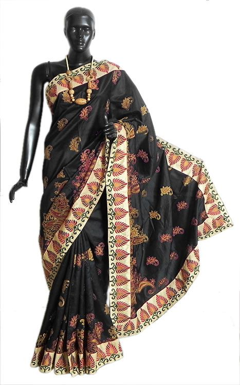Black Silk Saree with All-Over Parsi Embroidery (Silk))