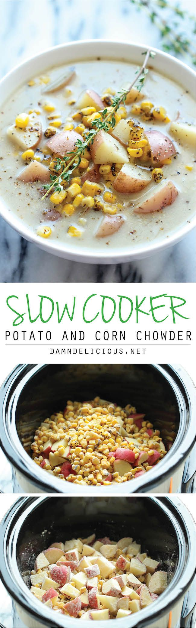 Slow Cooker Potato and Corn Chowder - The easiest chowder you will ever make. Throw everything in the crockpot and youre set! #vegetarian #recipe #veggie #healthy #recipes