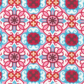 Fabric Finders, Inc. Print #977/1 Turquoise/Raspberry