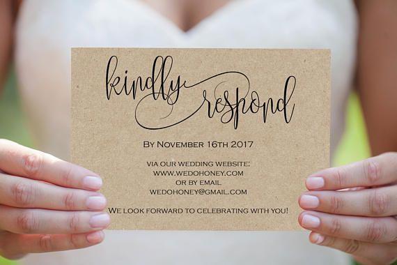 Printable Wedding Postcard RSVP Card Template Print on