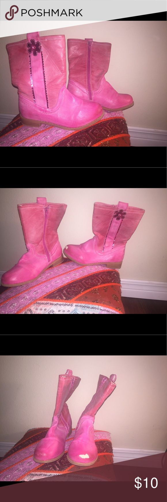 Kids cowboy boots Pink kids cowboy boots with flower on the top Size 13 small stuff on toe Shoes Boots