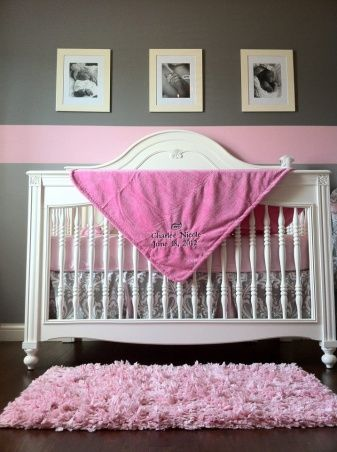 Pink & grey color scheme for baby room nursery. Hang vintage picture