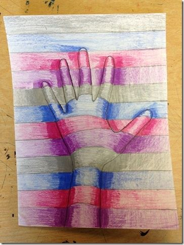 third grade art | 2nd & 3rd Grade Art / 3D hands...cool I have never seen this project done with shading.  I like!