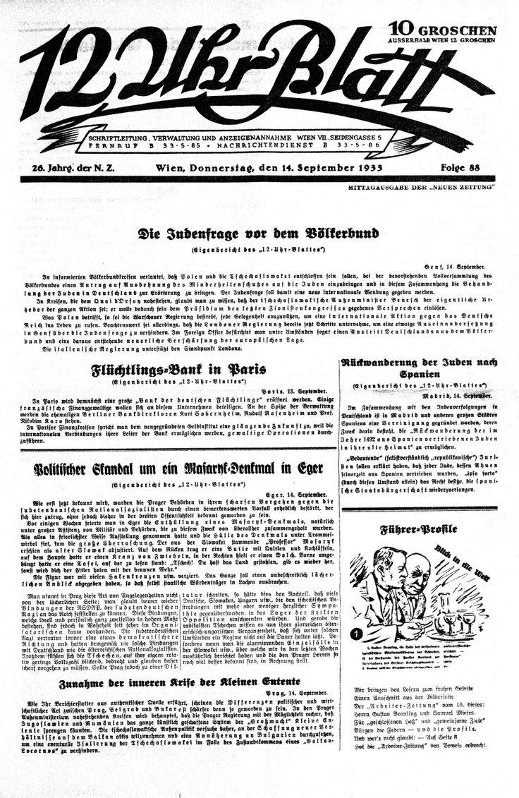 """September veröffentlichte das Berliner """"12-Uhr-Blatt"""" in großer Aufmachung einen Artikel »Künstler - Beispiel und Vorbild - Legende und Wirklichkeit, Rechte und Pflichten«. Starkolumnist des Blattes und Schreiber auch in der vom Propagandaminister Joseph Goebbels geleiteten Zeitung """"Das Reich"""" und anderen Nazipublikationen.Das 12-Uhr-Blatt war eine österreichische Tageszeitung, die von 1933 bis 1934 in Wien erschien."""