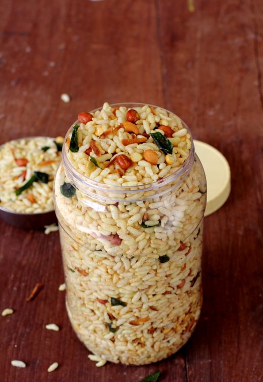 Murmura Chivda ~ Puffed Rice Chivda (Healthy Snack sold in Andhra) - Gluten Free, Vegan
