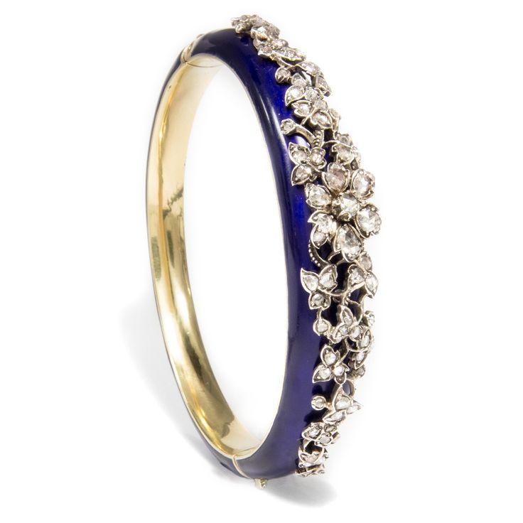 Nachts im Garten der Freuden... - Umwerfender Diamant Armreif aus Gold mit Email, England um 1850 von Hofer Antikschmuck aus Berlin // #hoferantikschmuck #antik #schmuck #antique #jewellery #jewelry // www.hofer-antikschmuck.de