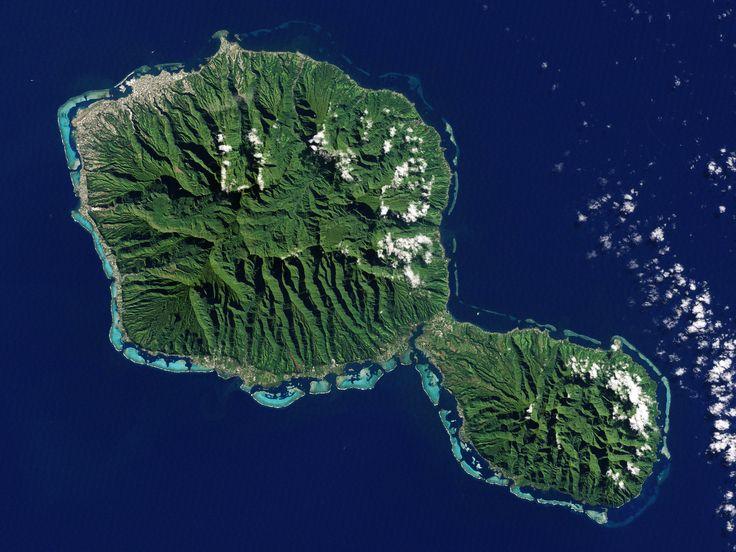 Tahiti photograph from space. Tahiti-Nui (big Tahiti) lies in the northwest, Tahiti-Iti (small Tahiti) in the southeast. #lovetahiti Credit: NASA Earth Observatory