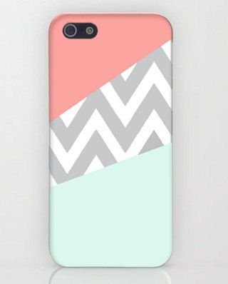 Mint  Coral Chevron iPhone Case  Cover  Stripes by TopQualityCase