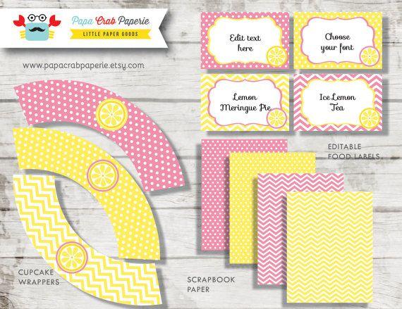 Rosa Limonade Party Paket / DIY Partei von PapaCrabPaperie auf Etsy