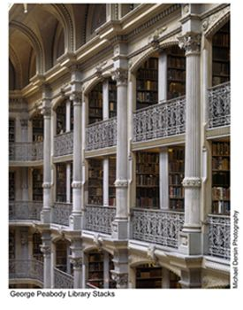 George Peabody Library, Baltimore.  The real life basis for the library in Beauty and the Beast.