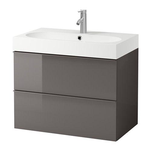 GODMORGON / BRÅVIKEN Meuble lavabo 2tir - brillant gris - IKEA