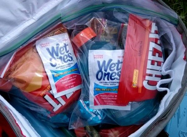 Add a wet wipe to soccer treat bags