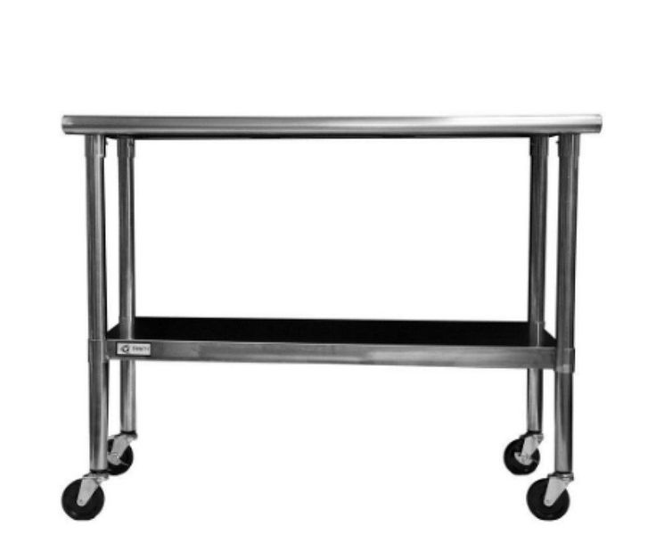 48 In. x 24 In. All Stainless Steel Work/Utility Table with Wheels Adjustable