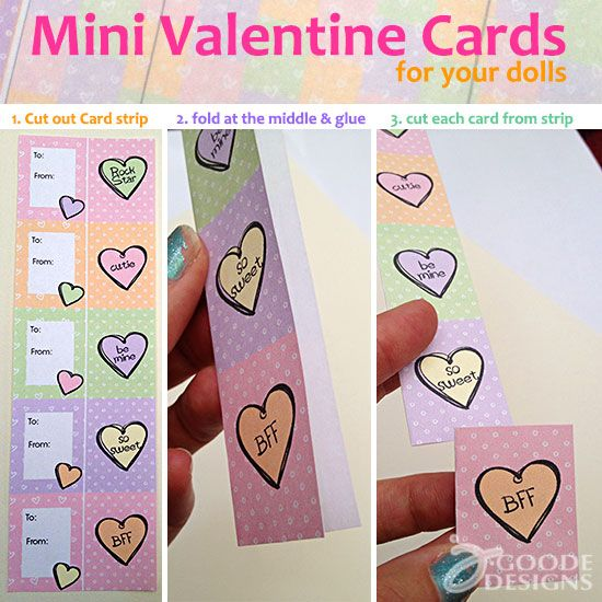 Mini Valentines for your dolls!  These are so cute!