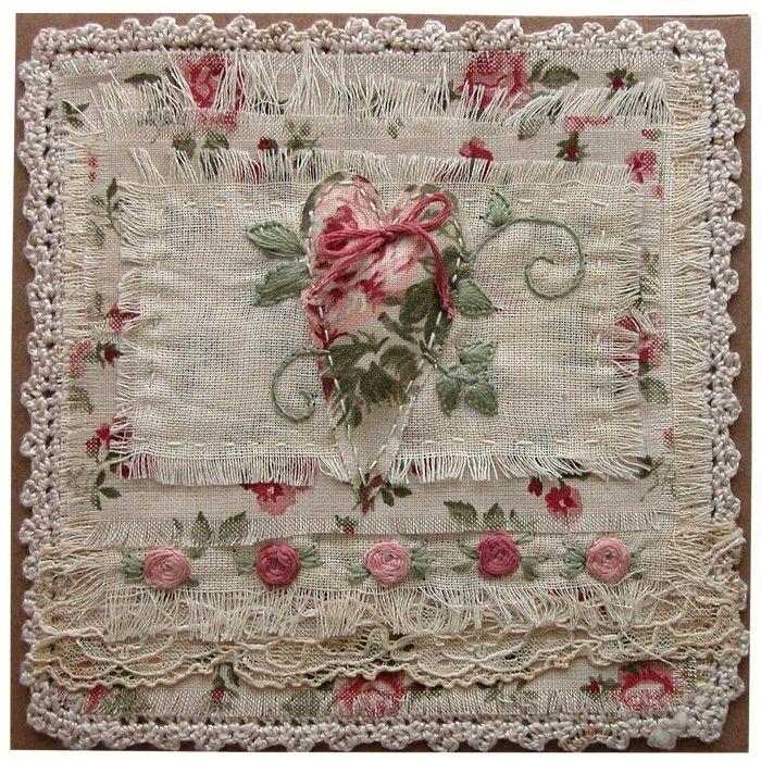 Přání textilní koláž Srdce a růžičky : Ostatní přání do obálky : Prodej přáníček : Originální ruční přáníčka
