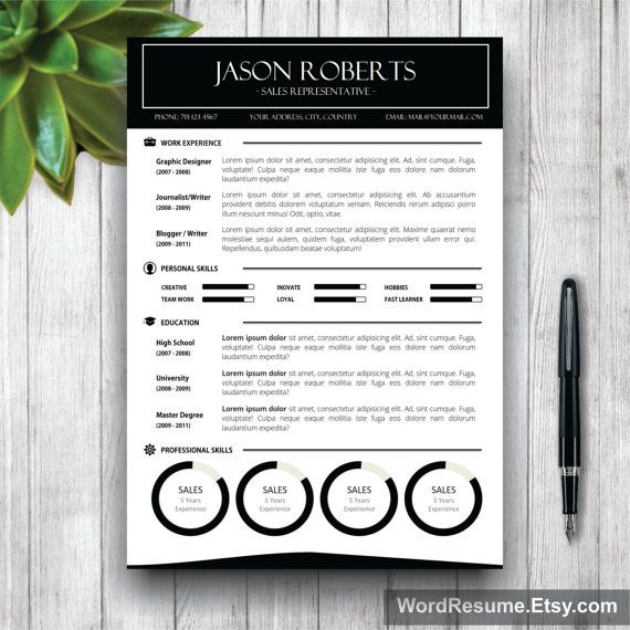 Black and White Resume Template  Cover Letter CV by WordResume