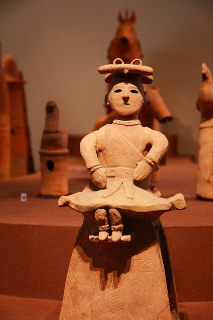 The Haniwa are terracotta clay figures which were made for ritual use and buried with the dead as funerary objects during the Kofun period (3rd to 6th century AD) of the history of Japan.
