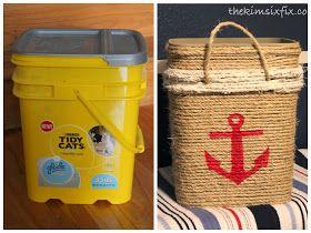 The Kim Six Fix: Cat Litter Bucket into Nautical Storage Tote (Tutorial)