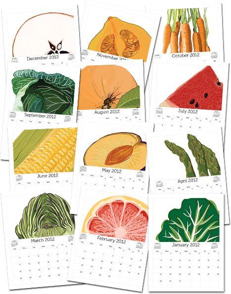 Free, printable fruit & vegetable calendars