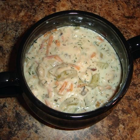 Slow Cooker Salmon Chowder from Food.com:   								Easy and healthy salmon chowder in the slow cooker.  Feel free to kick up the veggies, just be sure to add extra broth or water to compensate.