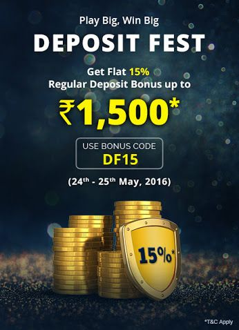KhelPlay Rummy - Google+ Hurry! Last day of 'DEPOSIT FEST'!   Use #Coupon  Code: DF15 and avail 15% #bonus  upto Rs.1,500*! #PlayRummy‬   #OnlineRummy‬    ➡ http://bit.ly/1Tte2Zu