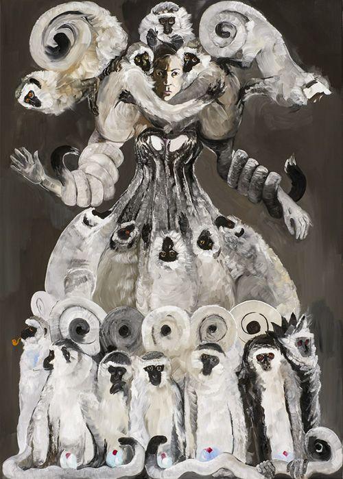 Queen of Monkeys, Sex Slave or a Trainer, 2012, oil on canvas, 210 x 150 cm  / Królowa małp, niewolnica seksualna albo treserka, 2012, olej na płótnie, 210 x 150 cm