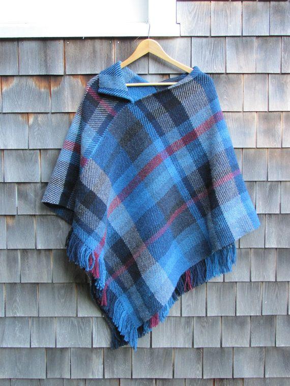 Poncho Handwoven Wool Cape Cloak Wrap Blue Plaid By