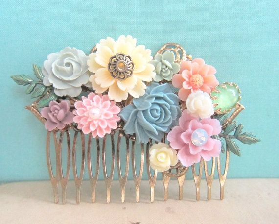 Bridal Hair Comb Pastel Pink Peach Sage Blue Mint Green Ivory Cream Colorful Summer Spring Wedding Shabby Chic Unique Statement Hair Piece