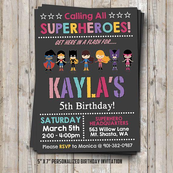 Hey, I found this really awesome Etsy listing at https://www.etsy.com/listing/259959149/girl-superhero-birthday-invitation