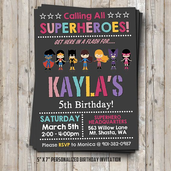 Hey, I found this really awesome Etsy listing at https://www.etsy.com/listing/259959149/girl-superhero-birthday-invitation