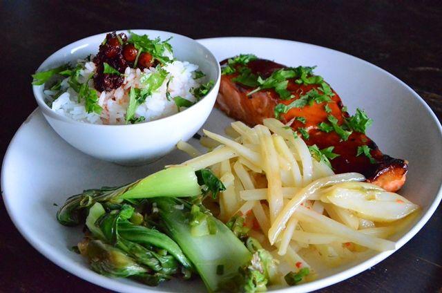 Asian flavours - Garlic fried pak choi, teriyaki glazed salmon and potatoes with chili