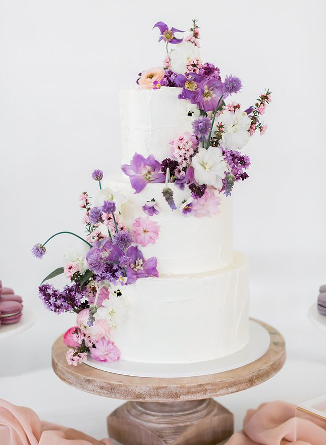 Whimsical Lilac Wedding Inspiration Inspired By This Floral Wedding Cakes Purple Wedding Cakes Wedding Cakes With Flowers