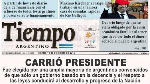 """Ideo su propia portada como presidenta en el diario oficialista Tiempo Argentino. """"Realidad o virtual, de vos depende!"""", escribió."""