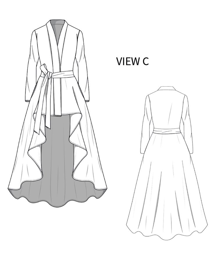 High Low Wrap Coat Dress Sewing Pattern