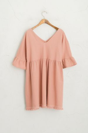 Frill Sleeve Tassel Edge Dress, Pink